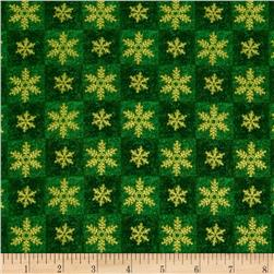 Seasons Greetings Snowflake Squares Green