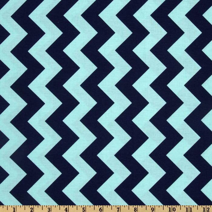 Riley Blake Chevron Medium Aqua/Navy - Discount Designer Fabric ...
