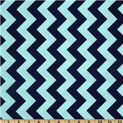 Riley Blake Chevron Medium Aqua/Navy Fabric