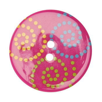 Fashion Button 1-3/8'' Confetti Swirls Pink