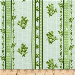 Juliette's Garden Jeanette Floral Stripe Apple Green