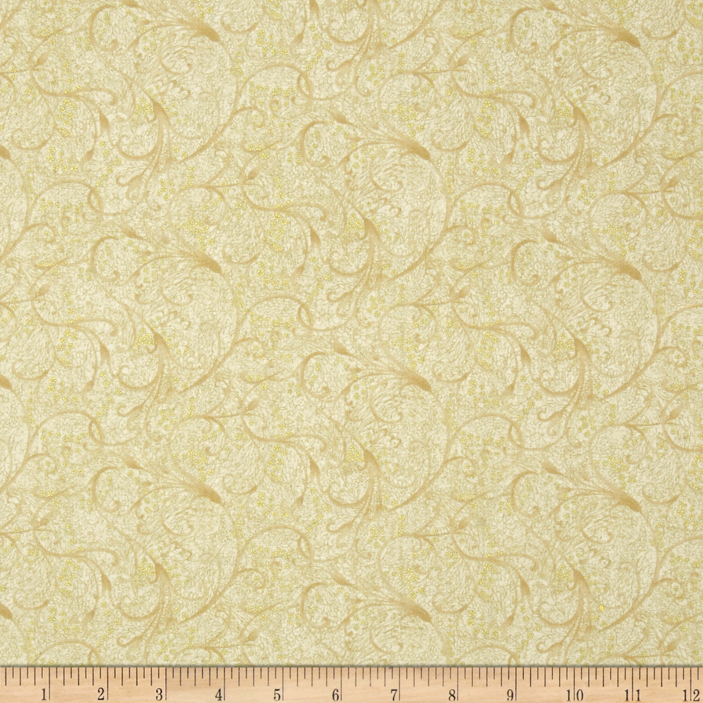 Tea House Tea Garden Scroll Antique Fabric