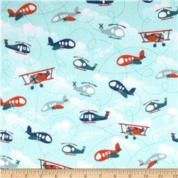 Riley Blake Fly Aweigh Flannel Planes Blue Fabric