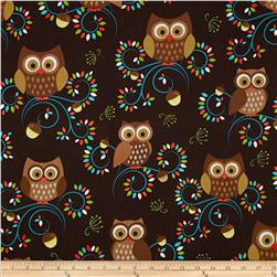 Michael Miller Norwegian Woods Happy Hooters Owls Forest Brown