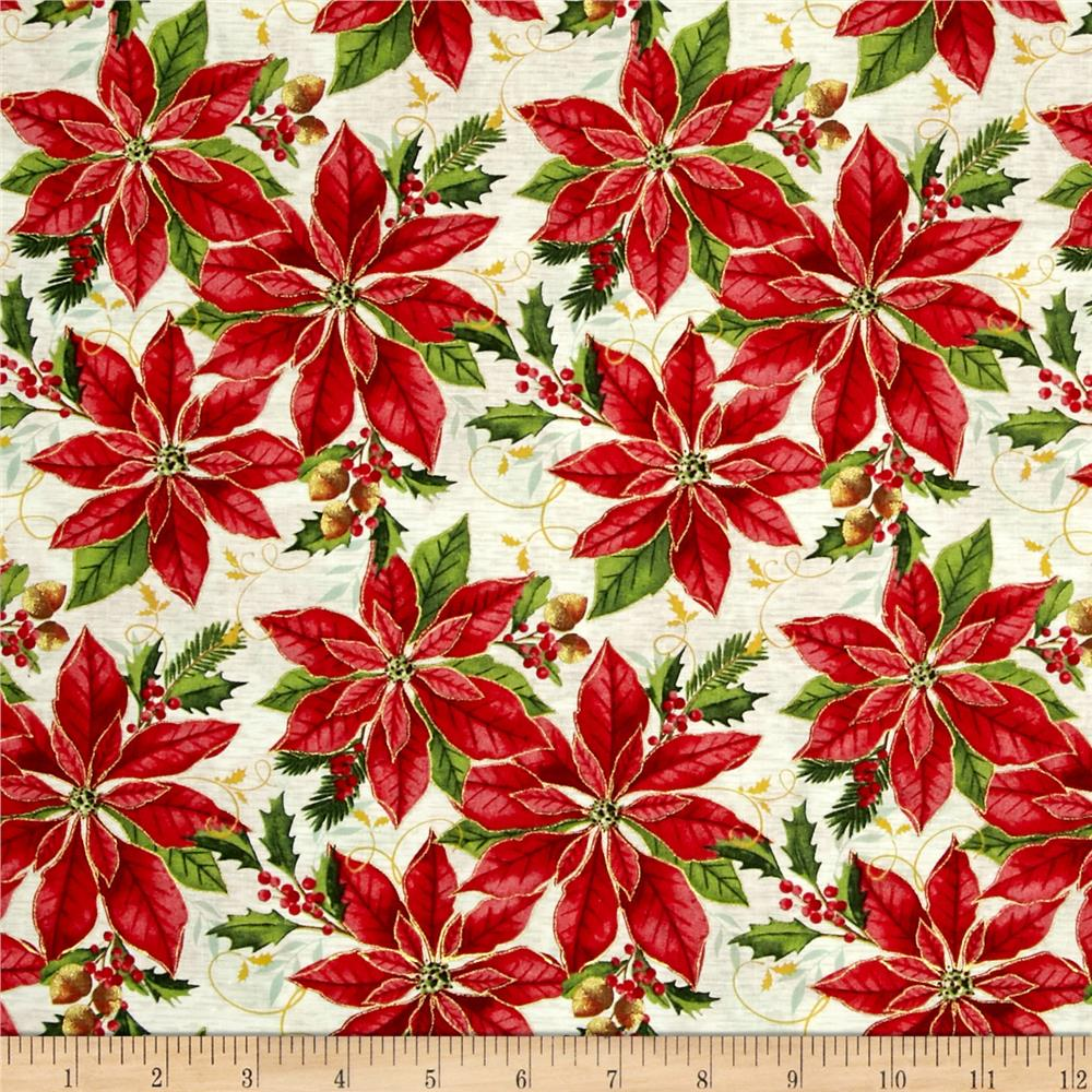 Holiday Blooms Poinsettia Red/Cream