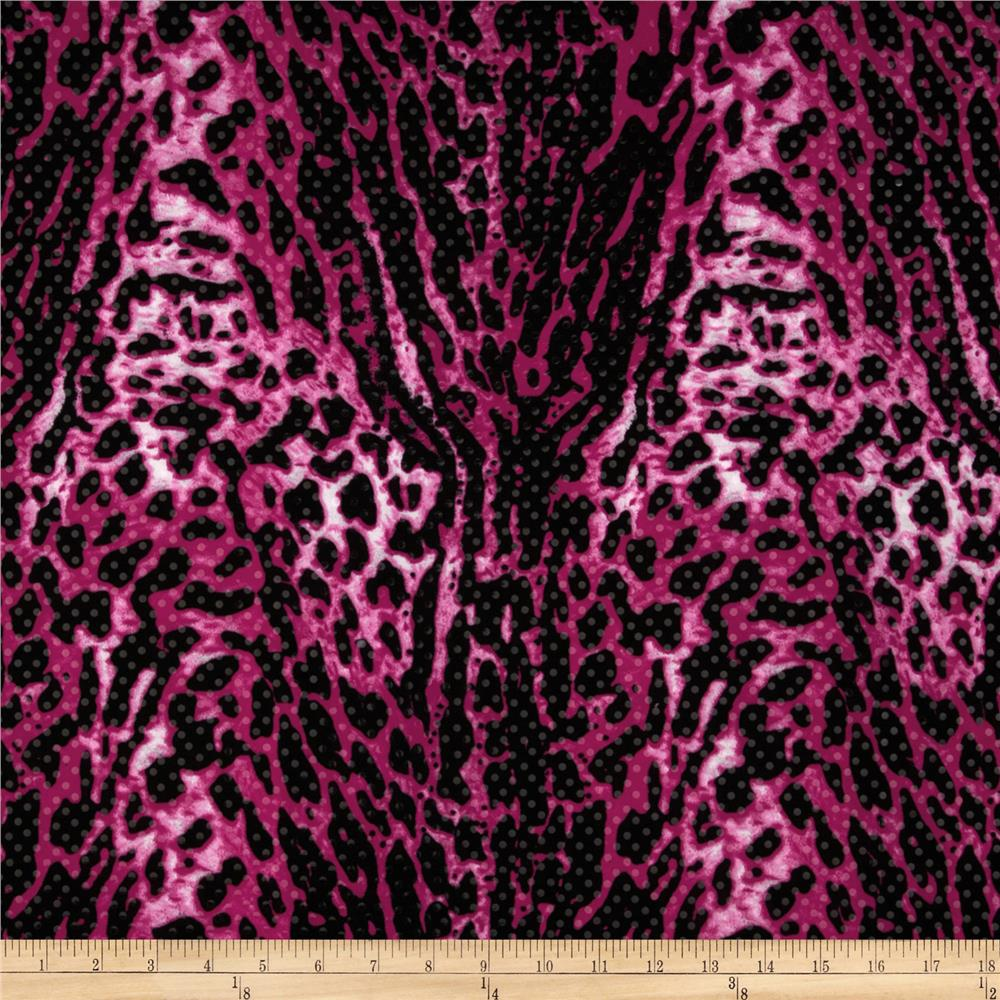 Stretch ITY Jersey Knit Shimmer Animal Hot Pink/Black