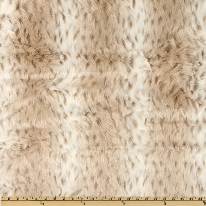 Faux Fur Snow Leopard White/Taupe Fabric