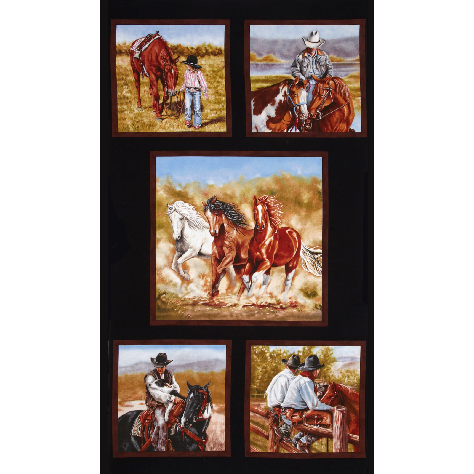 Image of Happy Trails Panel Black Fabric