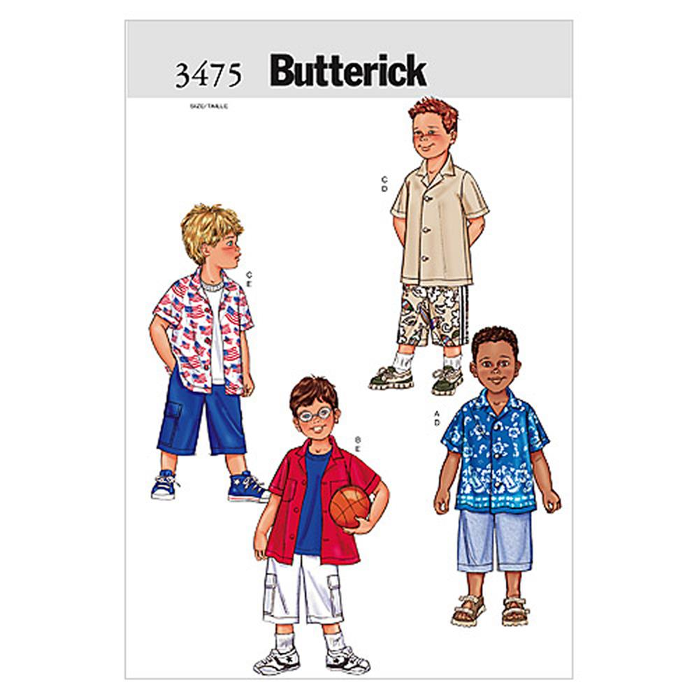 Butterick Boy's Shirt & Shorts Pattern B3475 Size 020