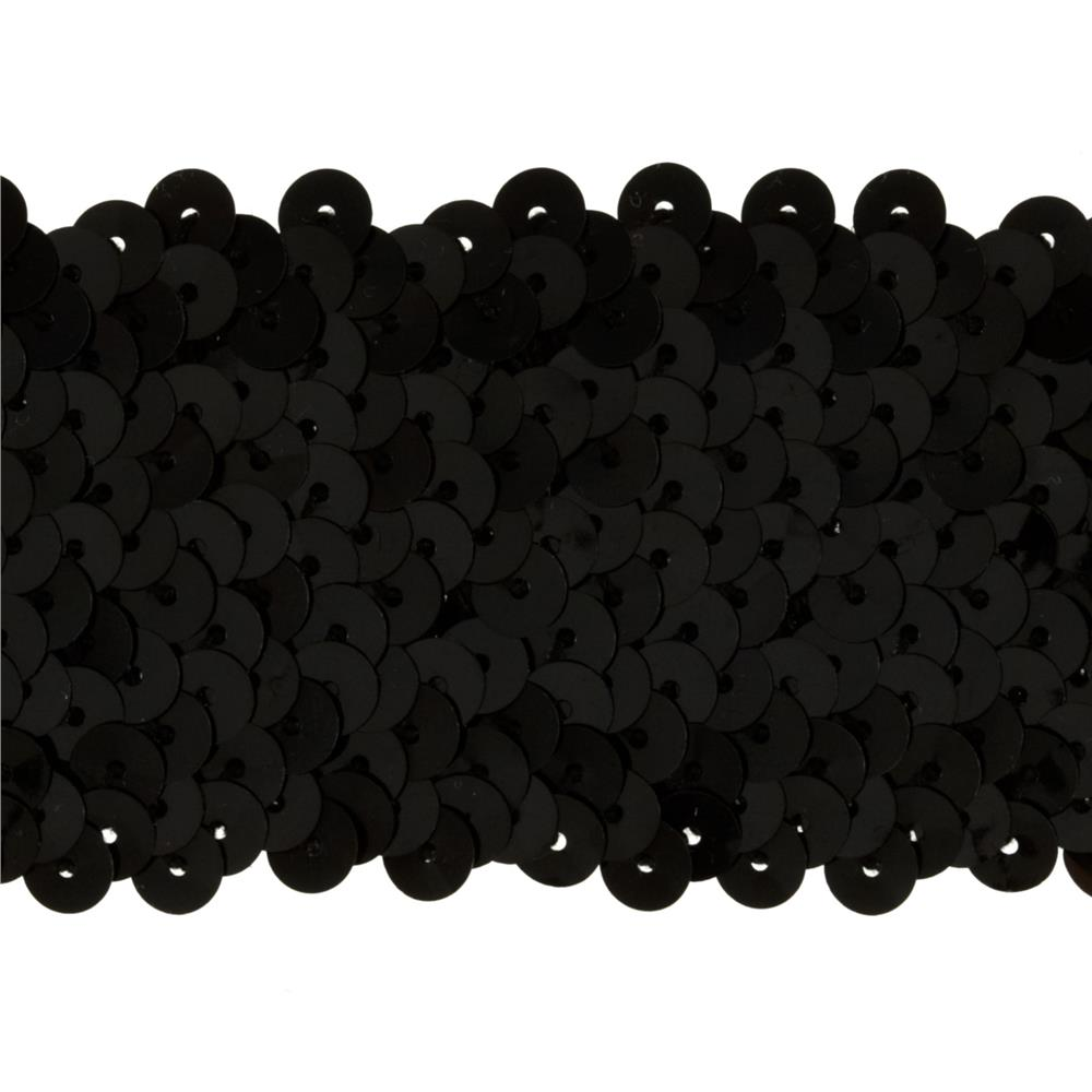 "1-3/4''"" Metallic Stretch Sequin Trim Black"