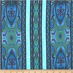 Bedfordshire Bobbin Lace Border Stripe Teal
