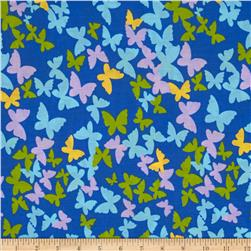 Butterfly Cotton Poly Broadcloth Royal