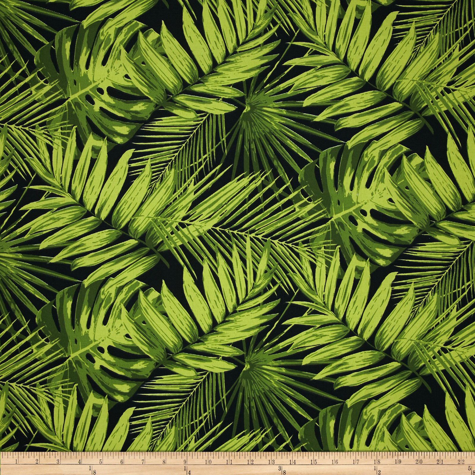 Terrasol Indoor/Outdoor Tropical Fronds Ebony Fabric by Tempro in USA