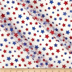 Glitter Patriotic Stars on White Organza