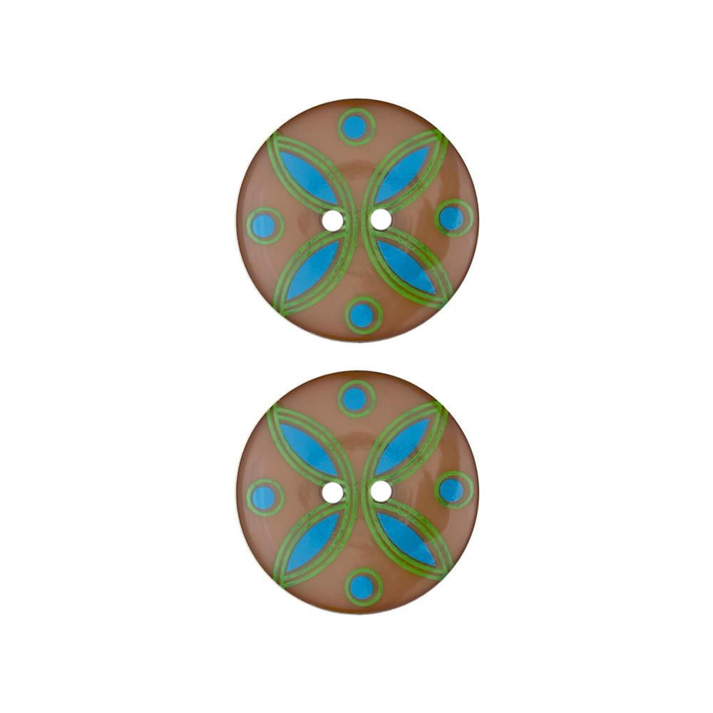 Dill Novelty Button 1'' Quatrefoil Brown