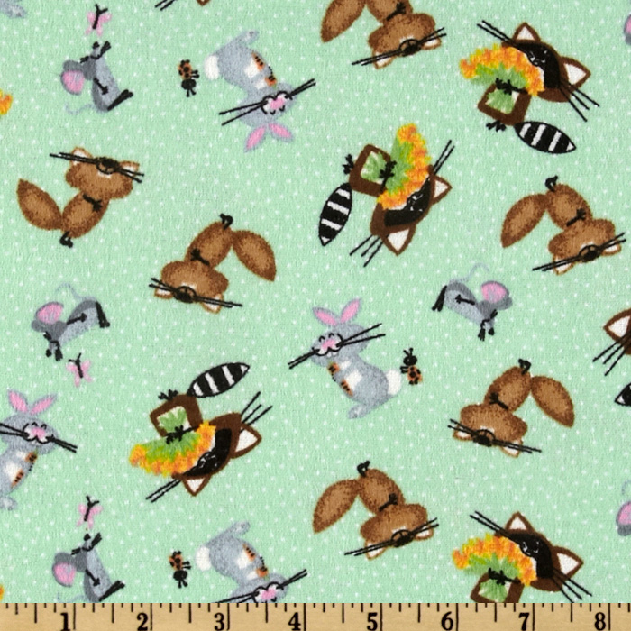 Comfy Flannel Raccoons Green Fabric