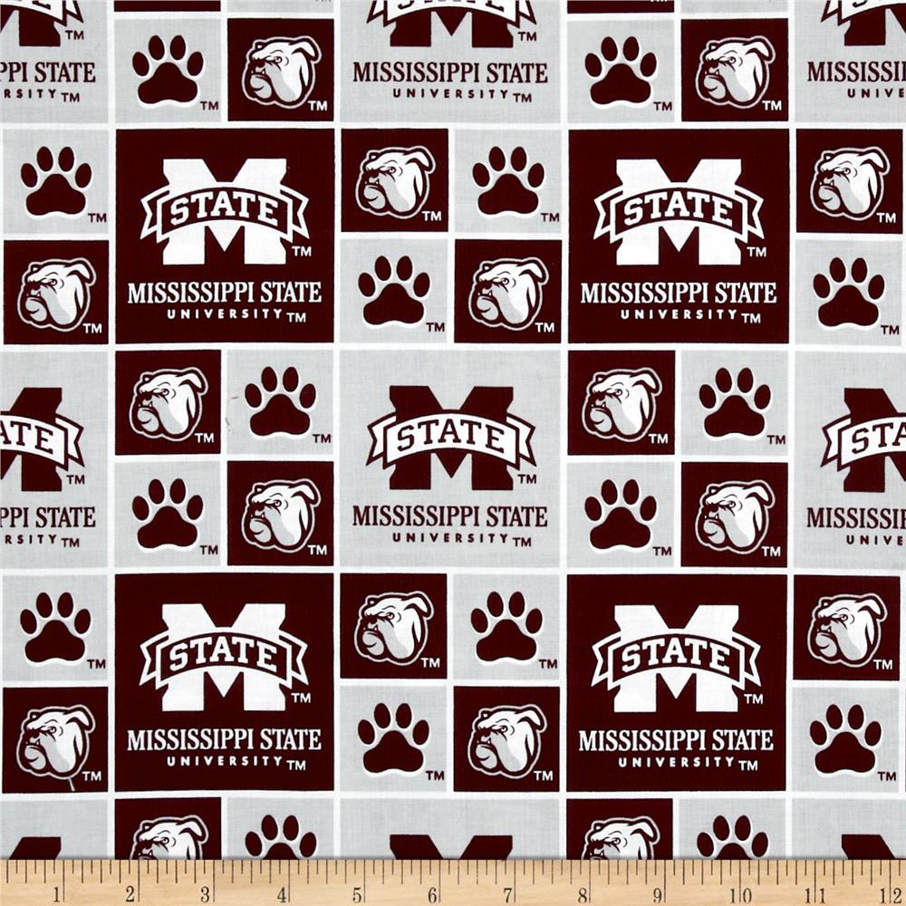 Collegiate Cotton Broadcloth Mississippi State Maroon