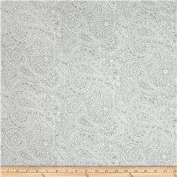 "108"" Wide Quilt Back Chelsea Dot Paisley Light Grey"