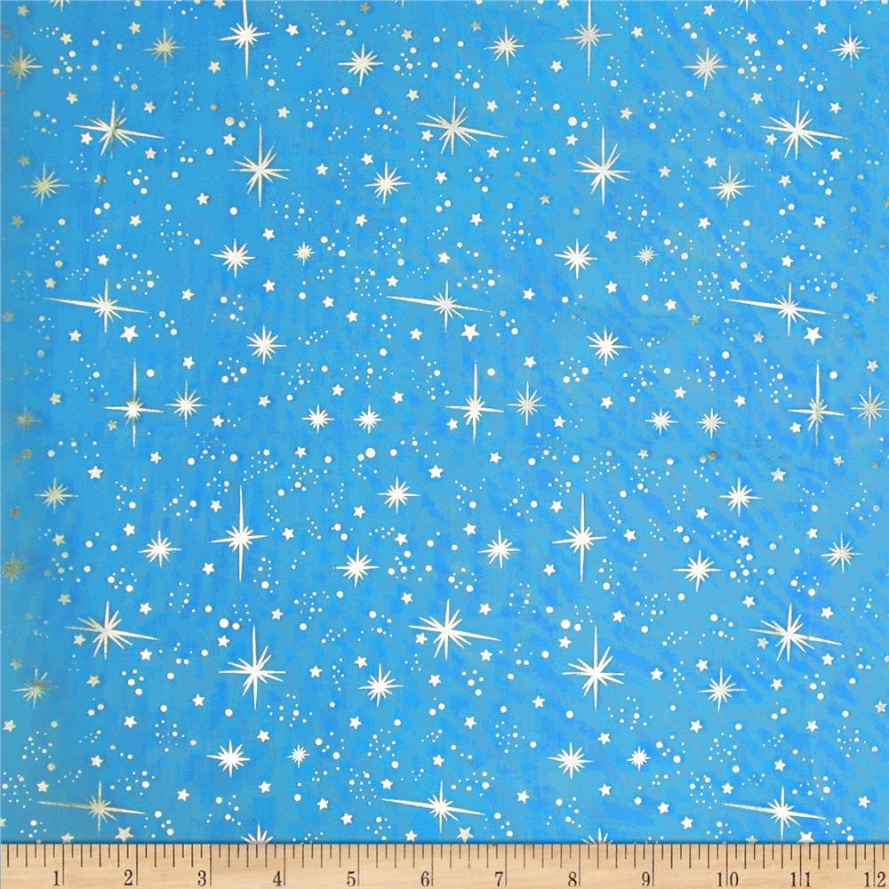 Ice organza silver star turquoise discount designer for Star design fabric