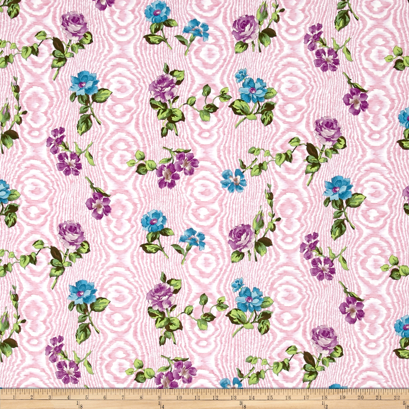 Tracy Porter Ardienne Tossed Floral Pink Fabric by Clothworks in USA