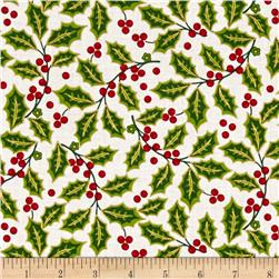 Traditional Poinsettia Metallic Holly White