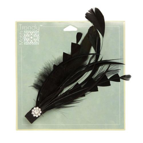"Fantasy Feather Brooch With Rhinestone 6"" Black"
