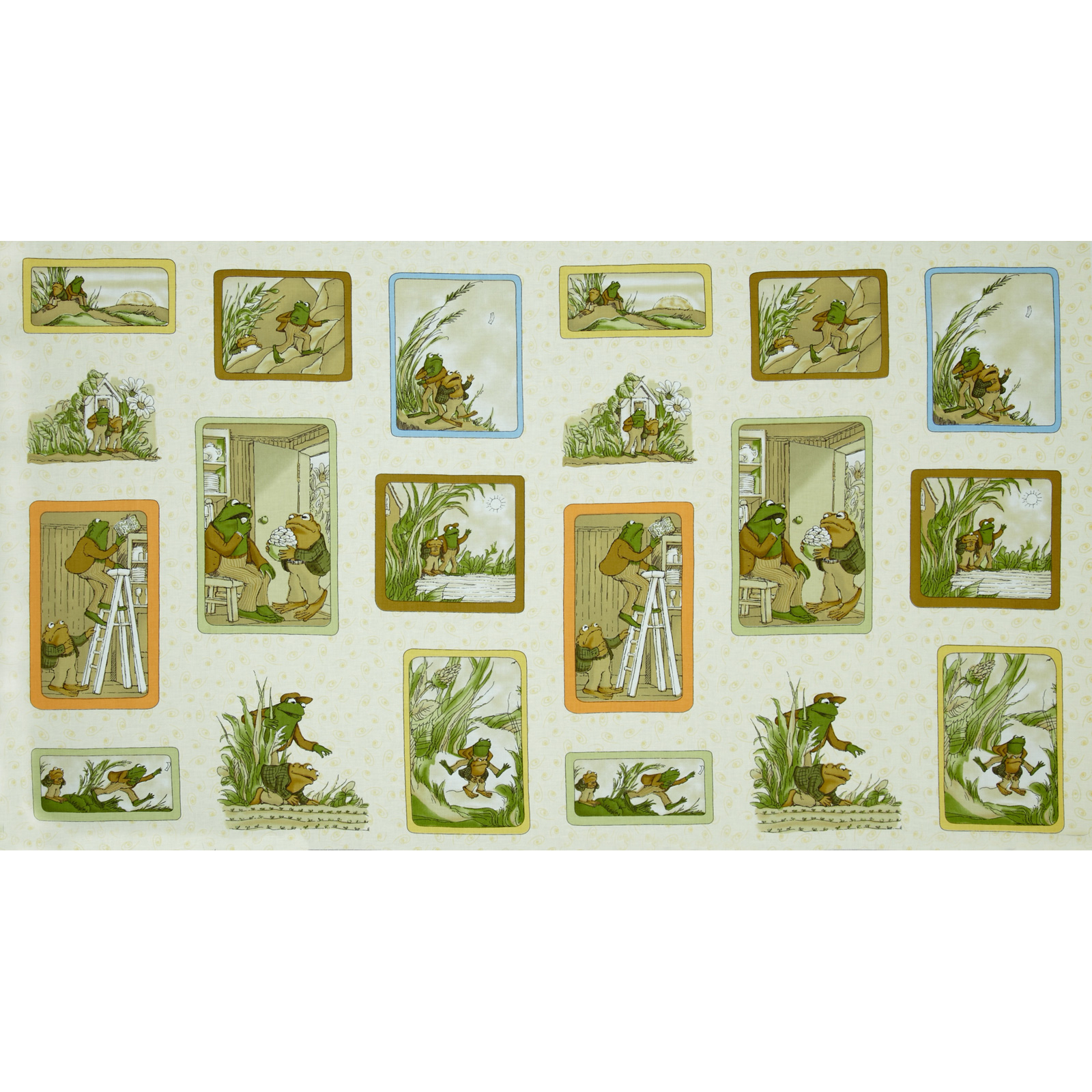 Frog and Toad Together Block Panel Cream Fabric