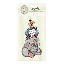 Iron-On Embroidered Applique Bazooples Stacked Animals/Elephant
