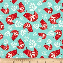 Folklore Birds Turquoise Fabric