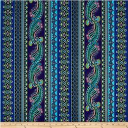 Timeless Treasures Mystique Metallic Paisley Stripe Purple
