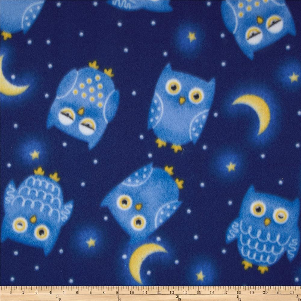 Fleece Tossed Owls Blue