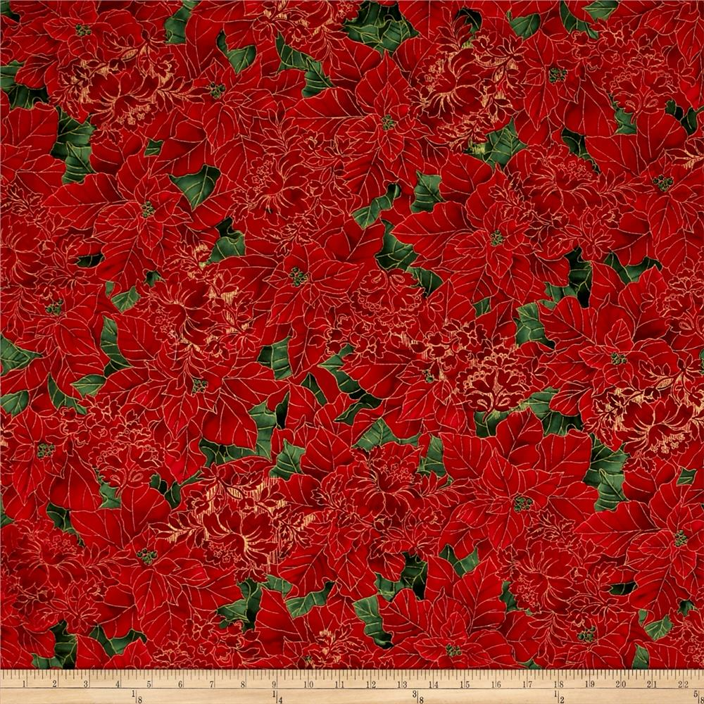 Timeless Treasures Glamourous Holiday Metallic Poinsettias Red