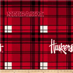 Collegiate Fleece University of Nebraska Plaid Red/White Fabric