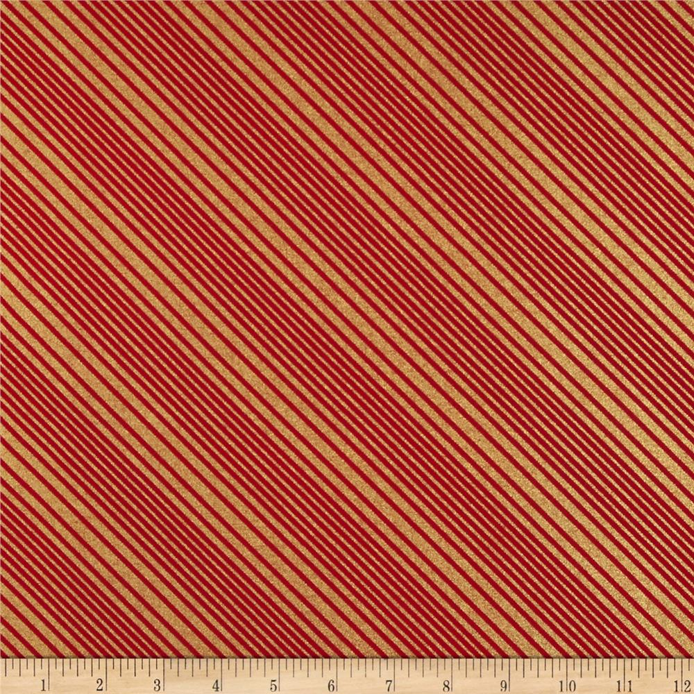 All Wrapped Up Metallic Diagonal Stripe Gold/Red