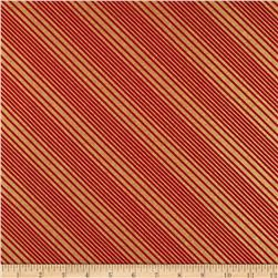 All Wrapped Up Metallic Diagonal Stripe Gold/Red Fabric