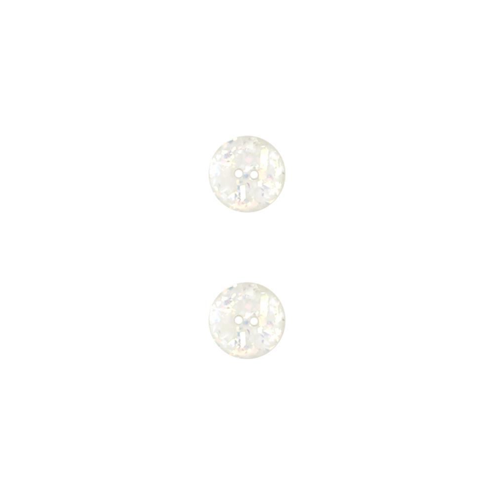 Dill Novelty Button 3/4'' Glitter White