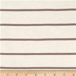 Rayon Jersey Knit Thin Stripe Ivory/Brown
