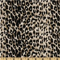Stretch Cotton Sateen Leopard Tan/Black