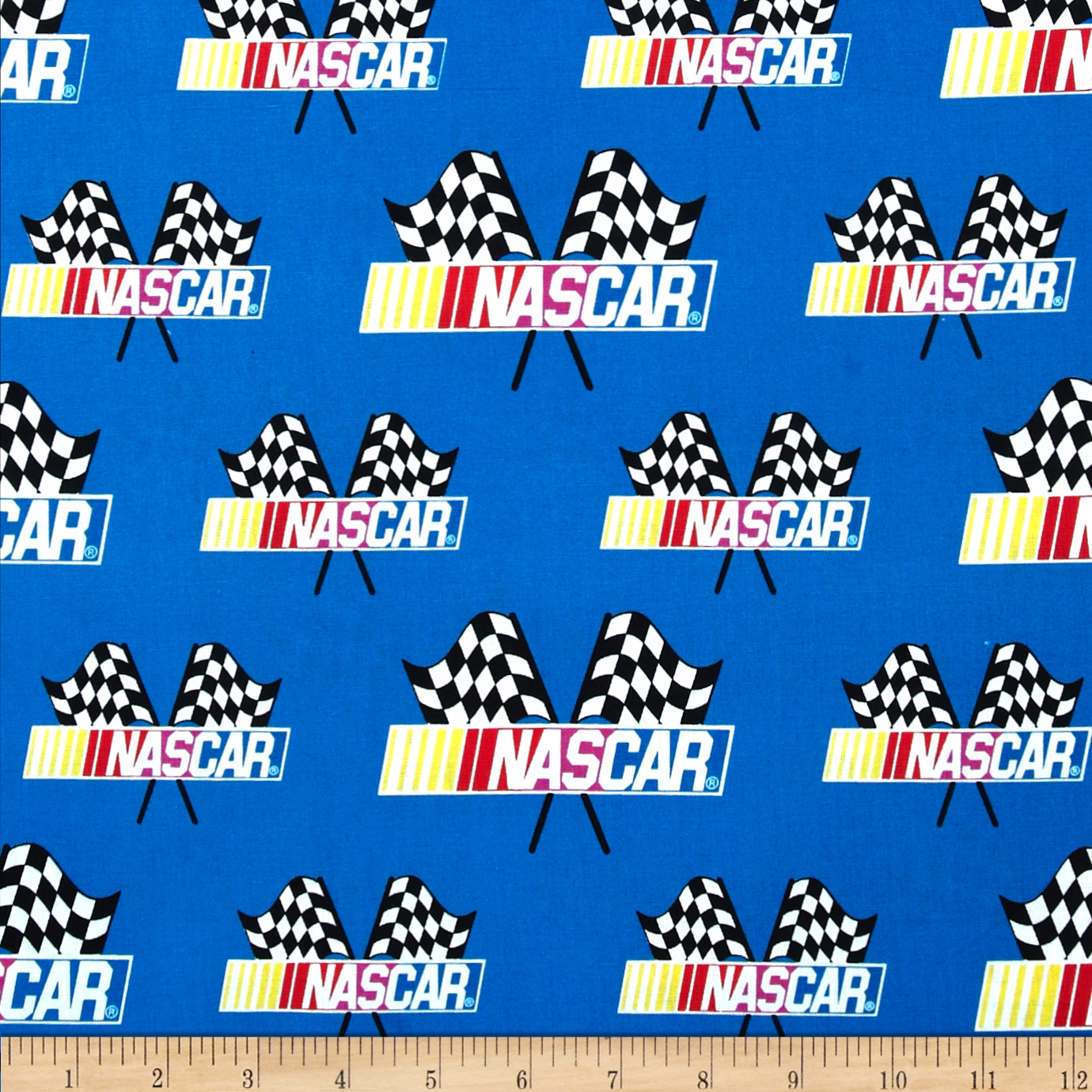 Nascar Allover Nascar Flags Blue Fabric