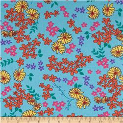 Cotton Broadcloth Floral Daisies Turquoise