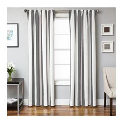 Sunbrella 96'' Rod Pocket Stripe Outdoor Panel Natural/Charcoal