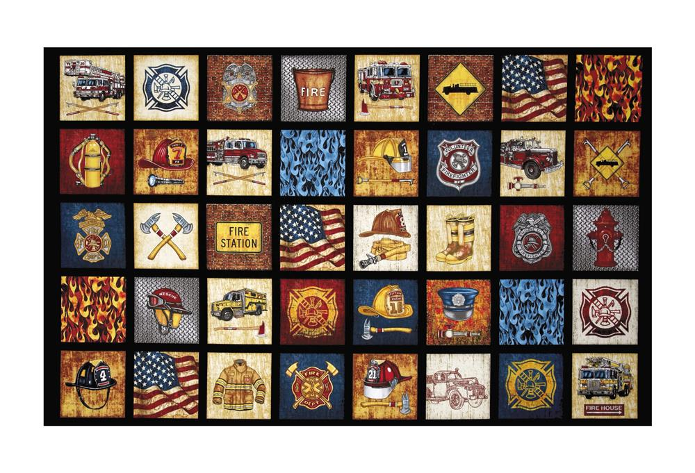 Transportation travel fabric fabric by the yard fabric qt fabrics treasures 5 alarm everything firefighter 24 panel black gumiabroncs Choice Image