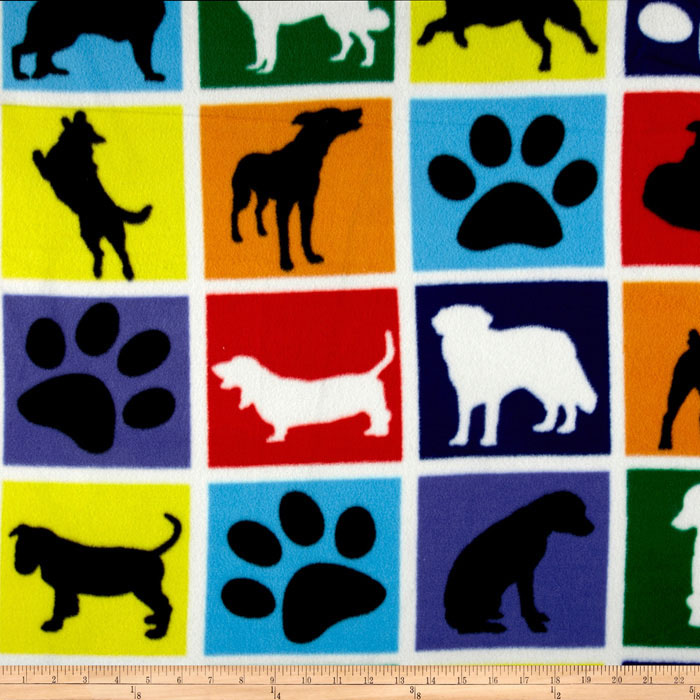 Winterfleece Dogs & Paws Blocks White Fabric