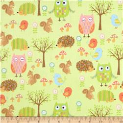 Riley Blake Owl & Co. Flannel Owl Friends Green