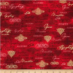 Robert Kaufman All That Jazz Metallic Music Collage Red