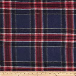 Printed Fleece Tartan Plaid Navy/Red