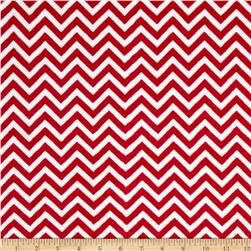 Shannon Minky Cuddle Mini Chevron Red/Snow