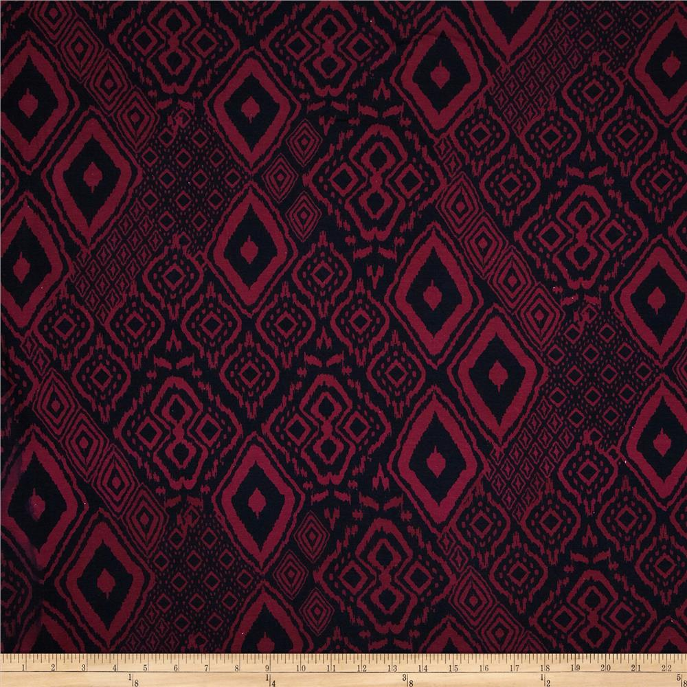 Cotton Spandex Jersey Knit Geometric Ikat Black/Burgundy