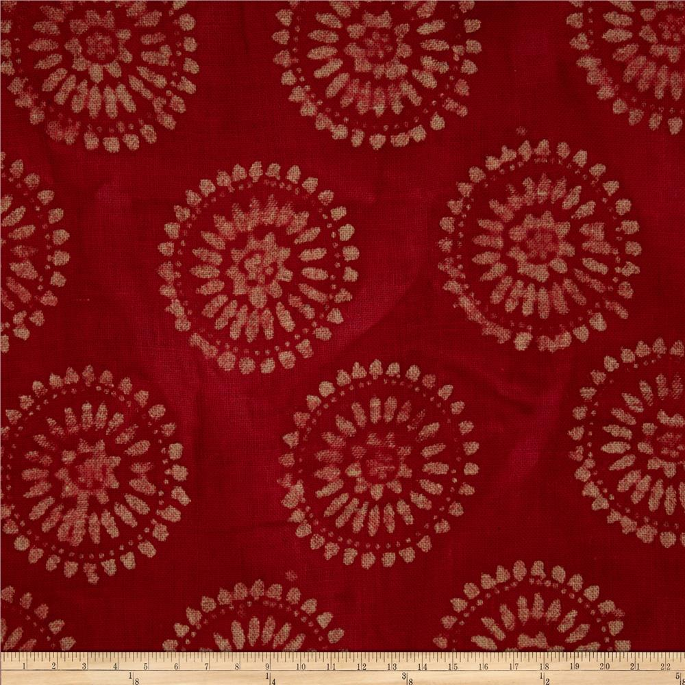 Textile Creations Burlap Batik Medallion Red