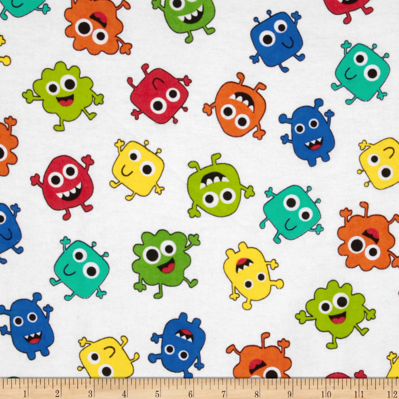 Comfy Flannel Tossed Monsters White Fabric